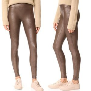 Spanx Faux Leather Leggings Sz Small Brown Stretch